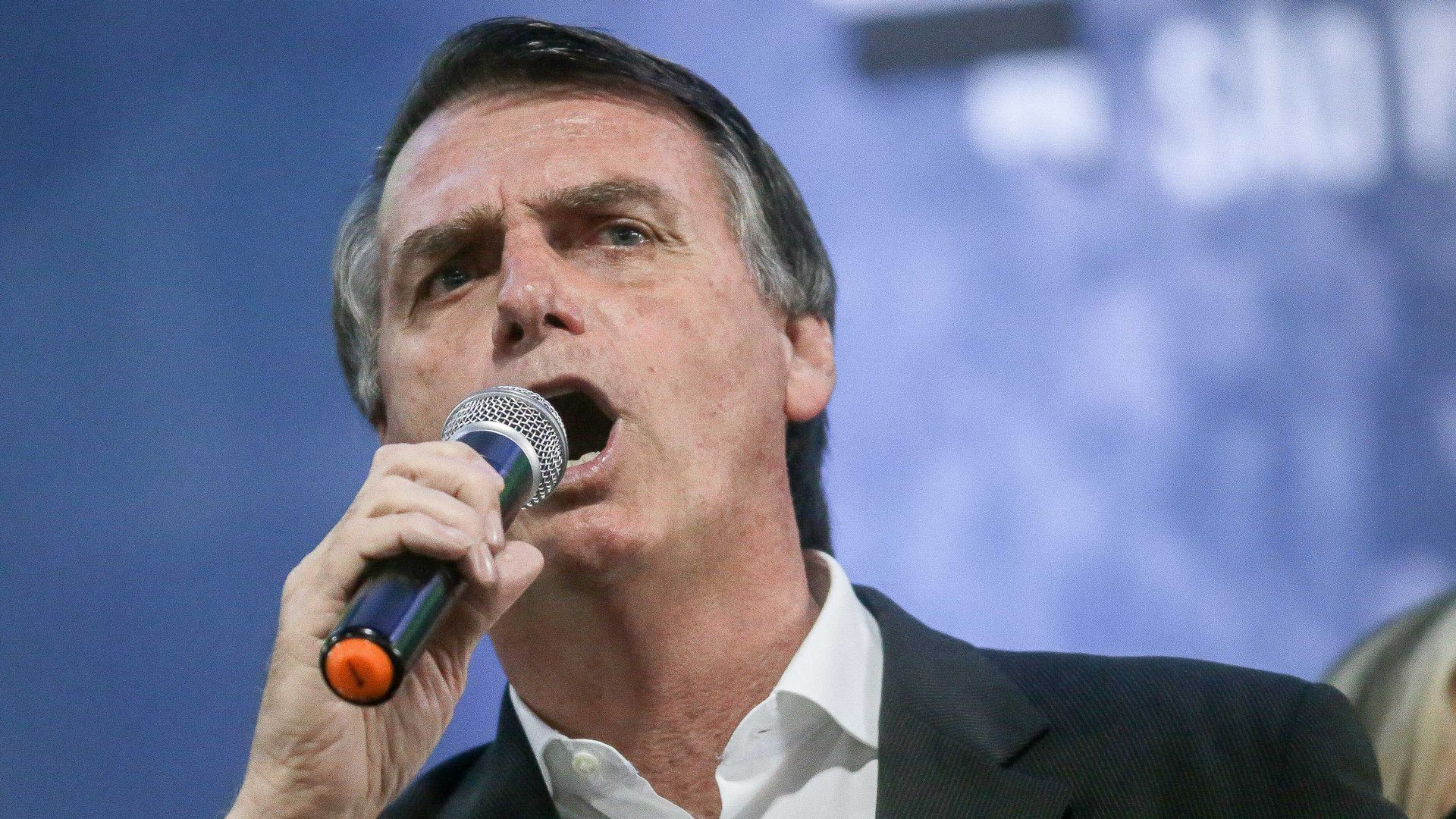 Jair Bolsonaro, Brazilian presidential candidate for the Social Liberal Party, during his political party in Sao Paulo, Brazil, on August 5, 2018.