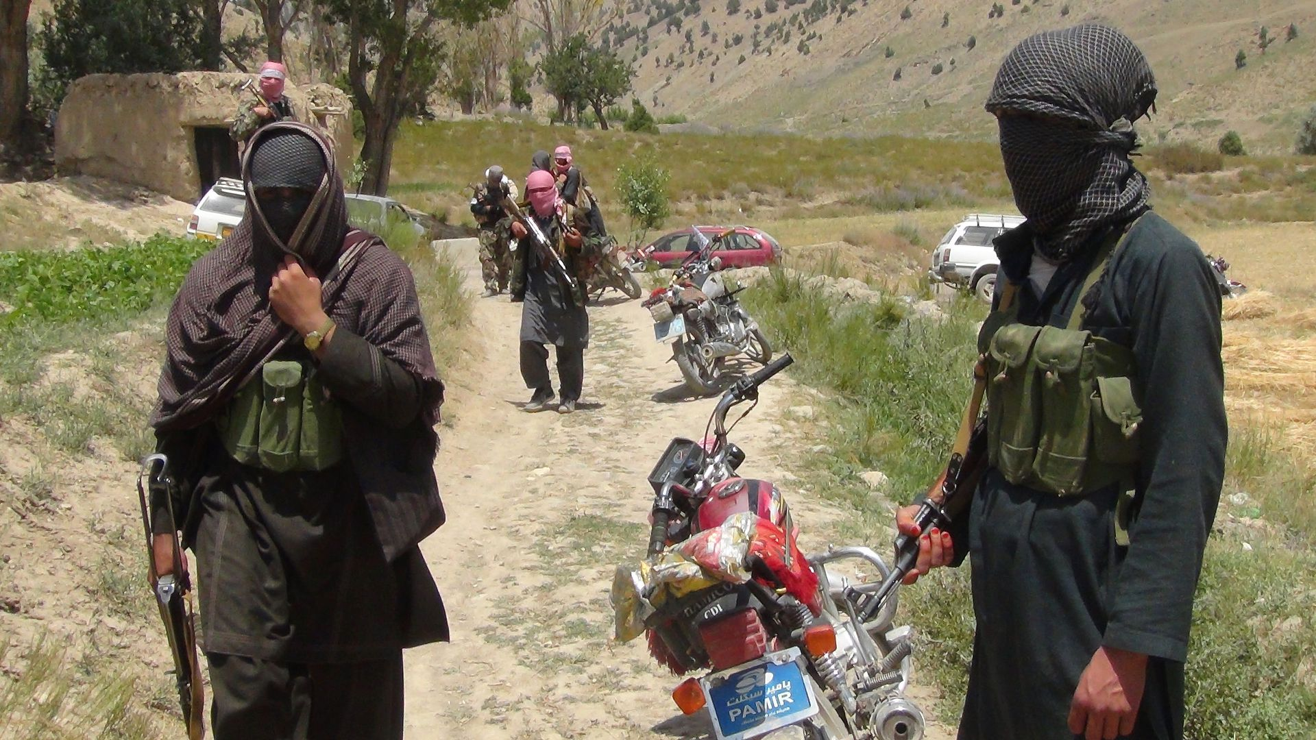 Fighters with Afghanistan's Taliban militia.