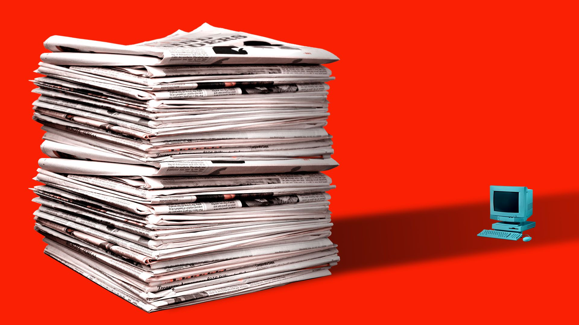 Illustration of giant stack of newspapers casting a shadow on a small computer