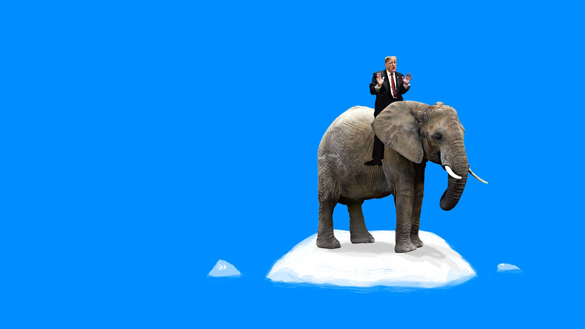 Trump riding an elephant while floating on a sheet of ice