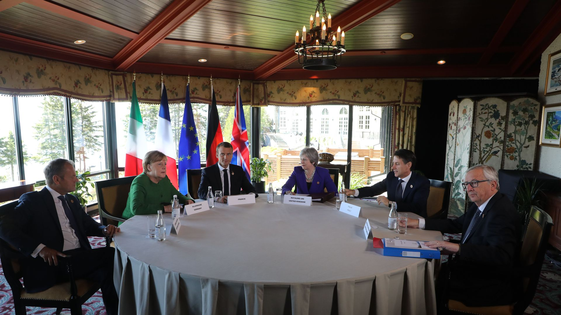 European leaders around a table at the G7 summit