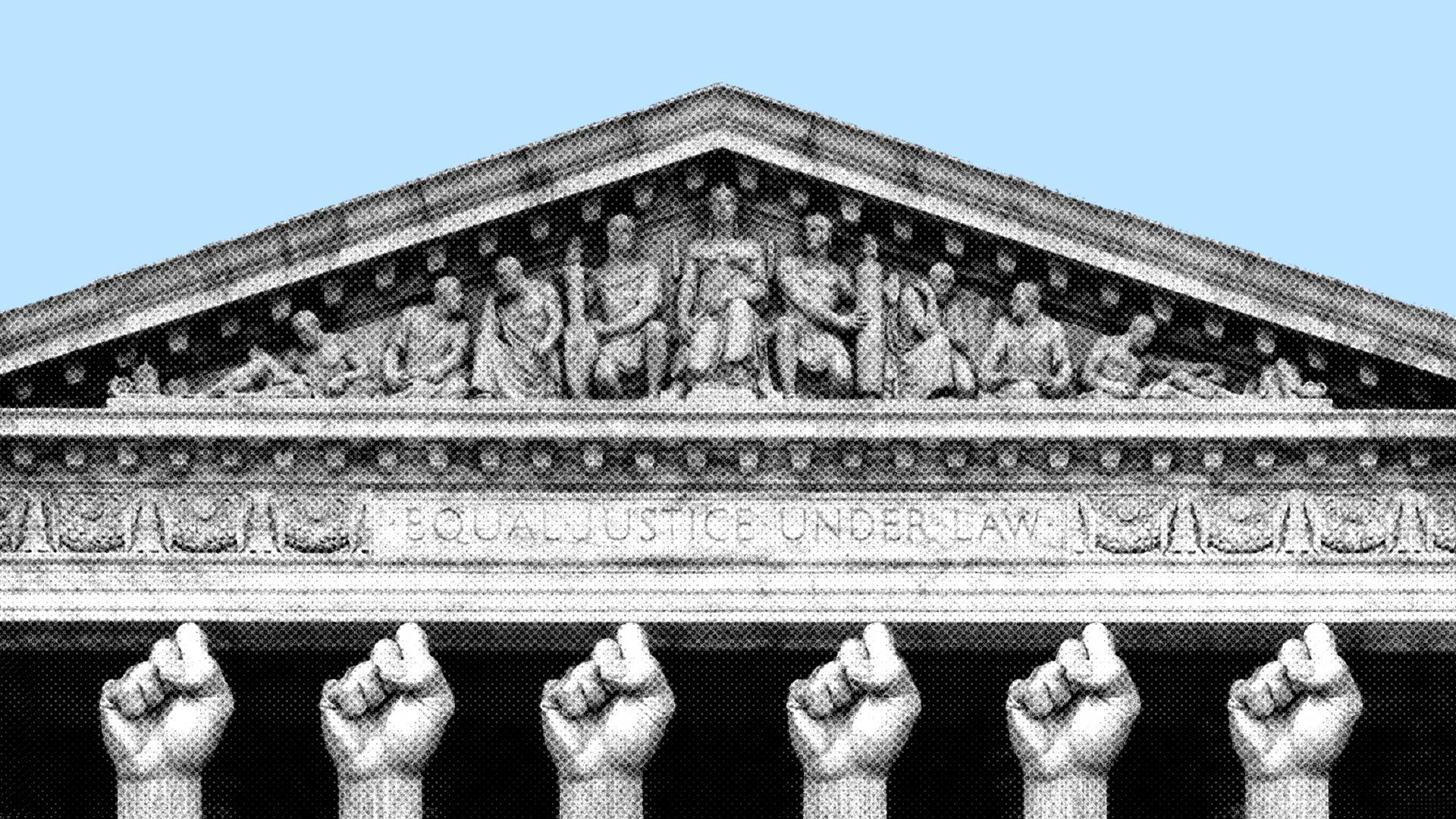 Supreme Court building with columns made out of raised fists