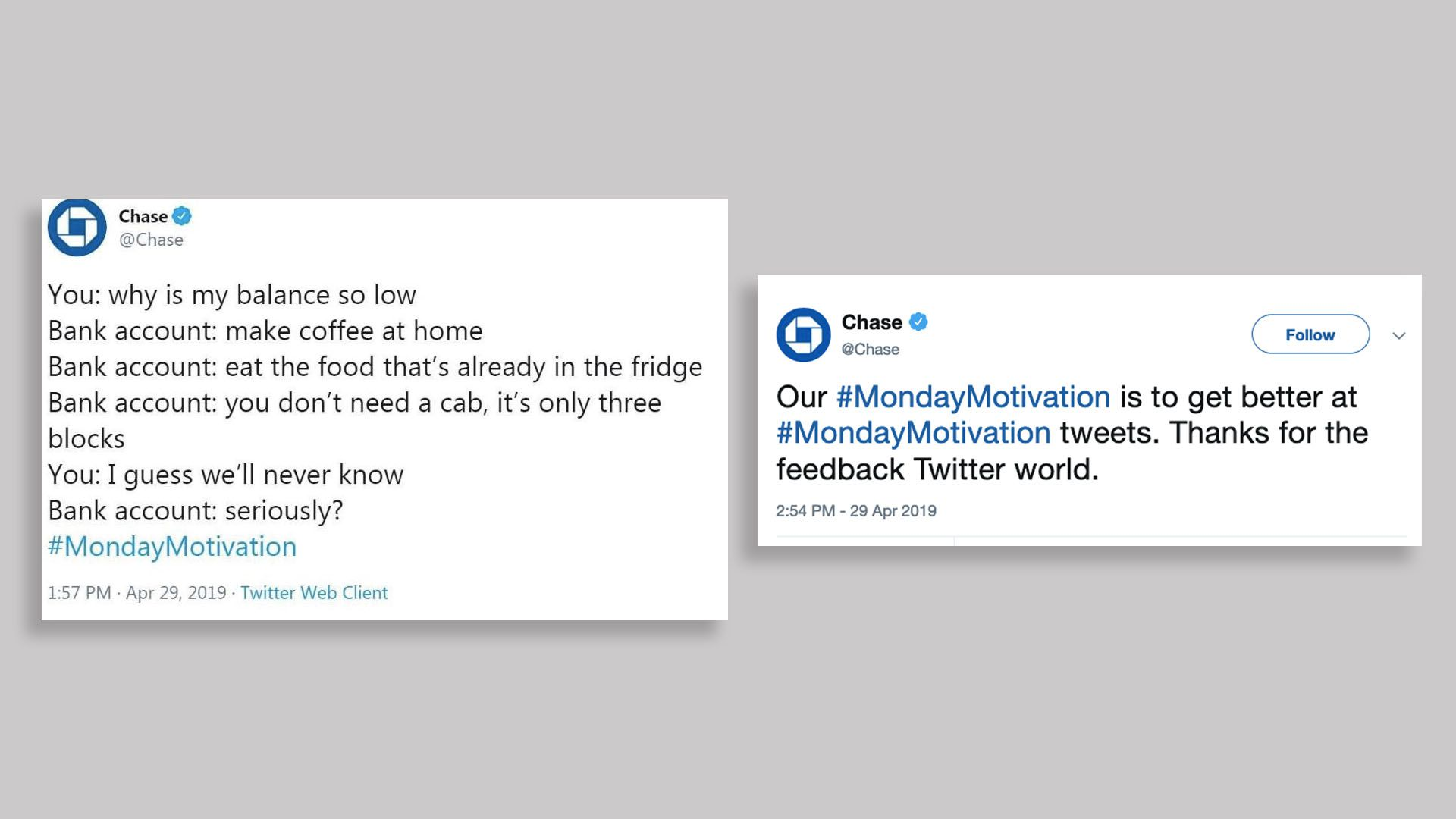 Two tweets from Chase with the hashtag #MondayMotivation