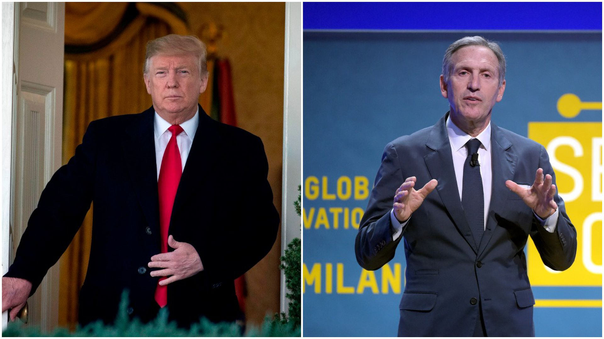Cropped photo of President Trump and Howard Schultz