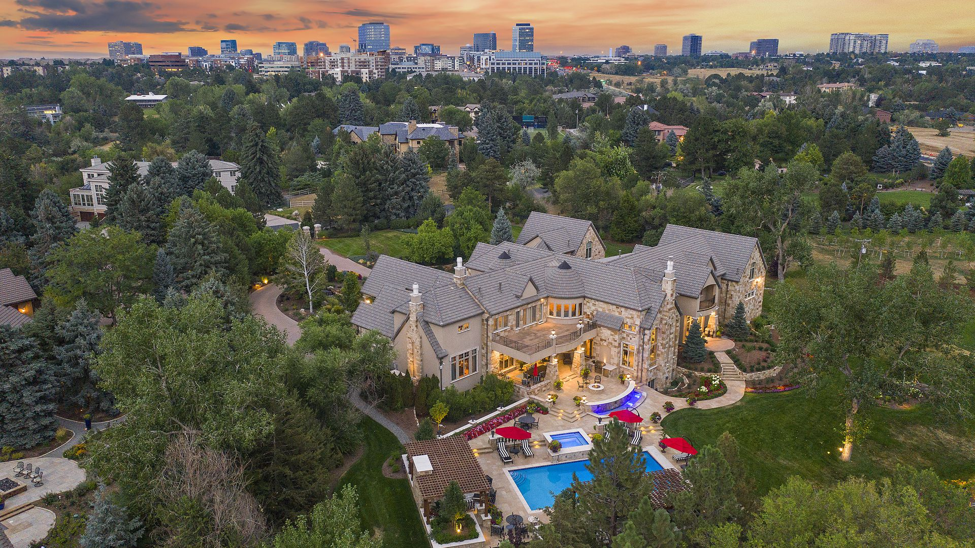 An aerial view of 5800 Piedmont Drive in Cherry Hills Village. Photo courtesy of Josh Drovdal