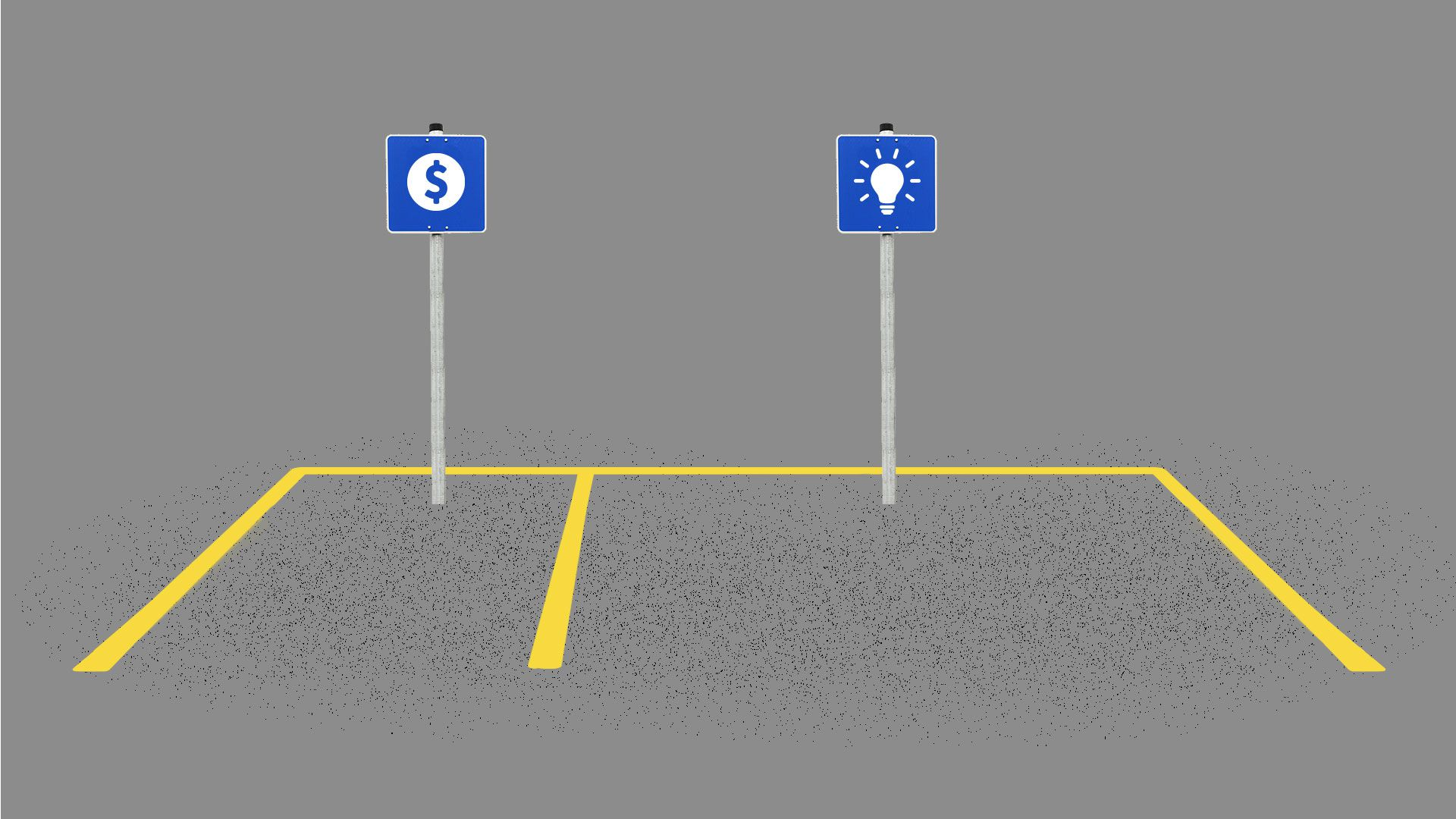 Illustration of two parking spaces, one marked for founders the other for investors. The founders spot is twice as large.