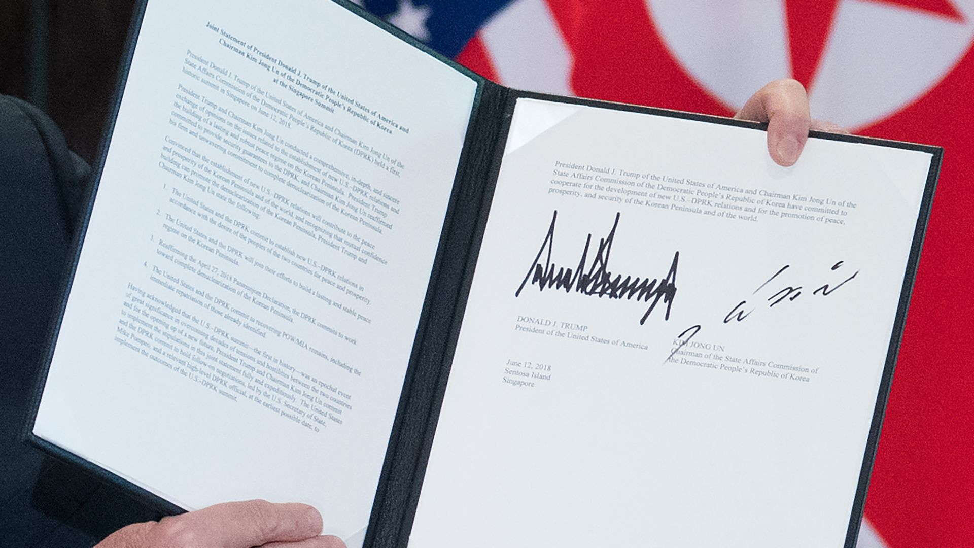 Close up of the document signed by Trump and Kim