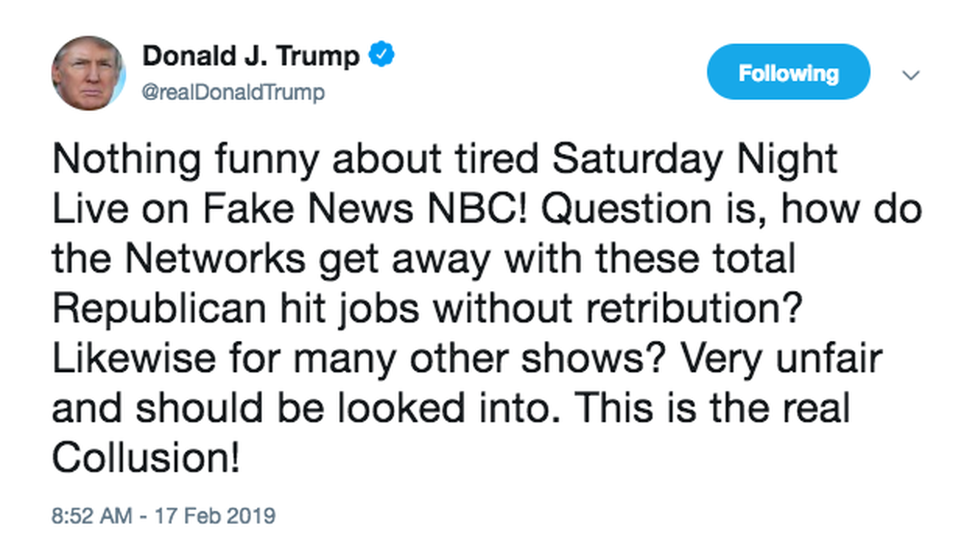 """""""This is the real Collusion!"""": Trump asks how SNL can air """"without retribution"""""""