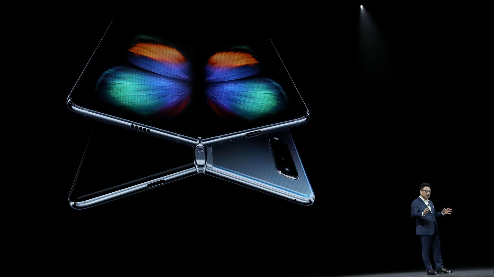 Samsung's DJ Koh shows off the Galaxy Fold at a San Francisco event on Feb. 20, 2019.