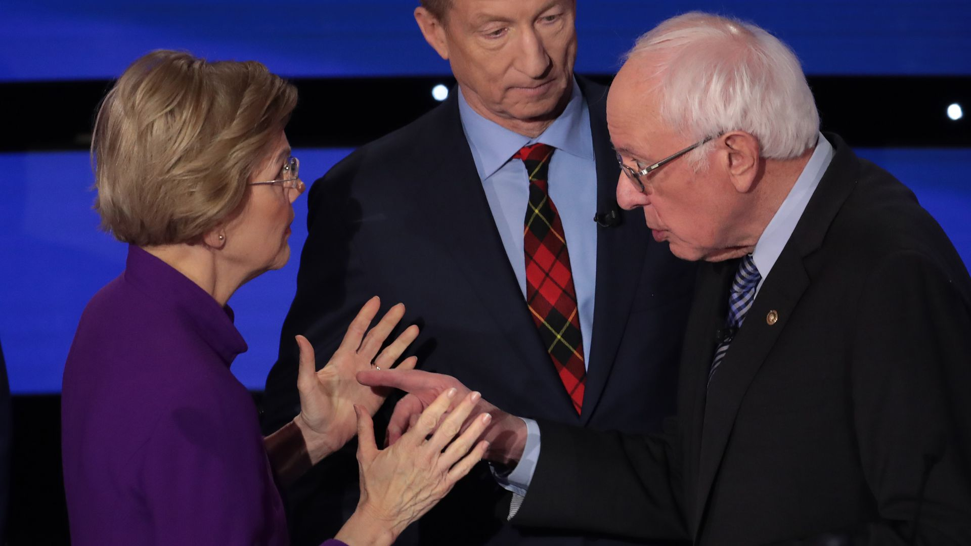 Elizabeth Warren and Bernie Sanders have a heated conversation in the moments following Tuesday's Democratic debate.