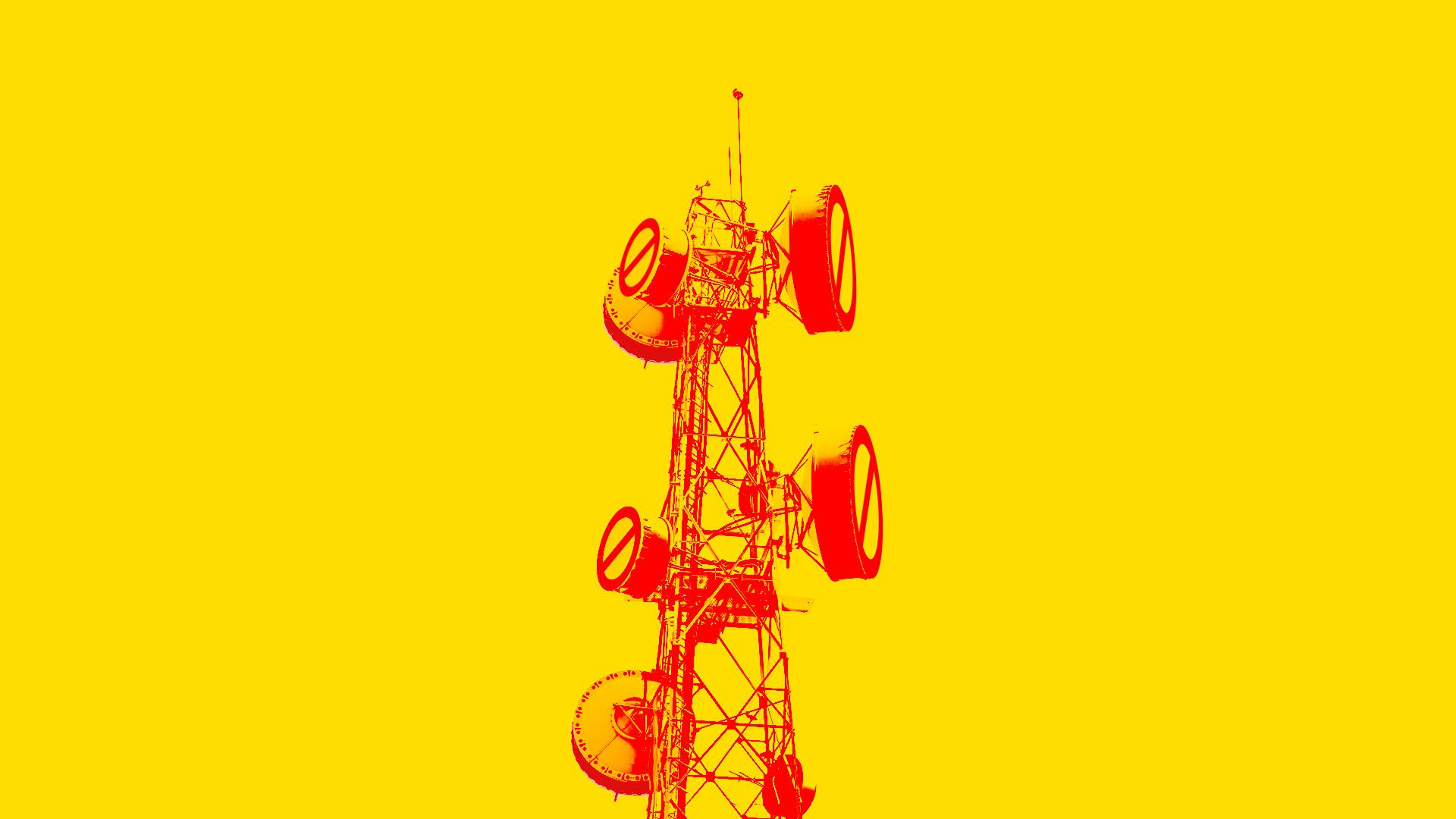 "Illustration of a telecommunications tower with red ""ban"" signs over the satellite dishes"