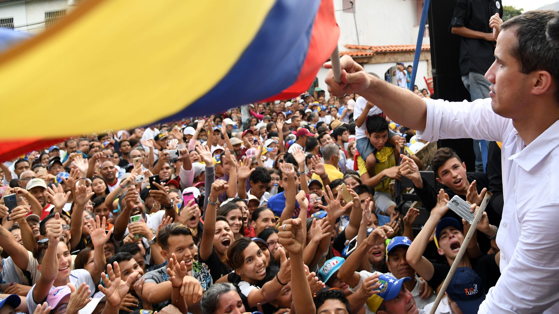 Venezuelan National Assembly President Juan Guaidó with supporters.