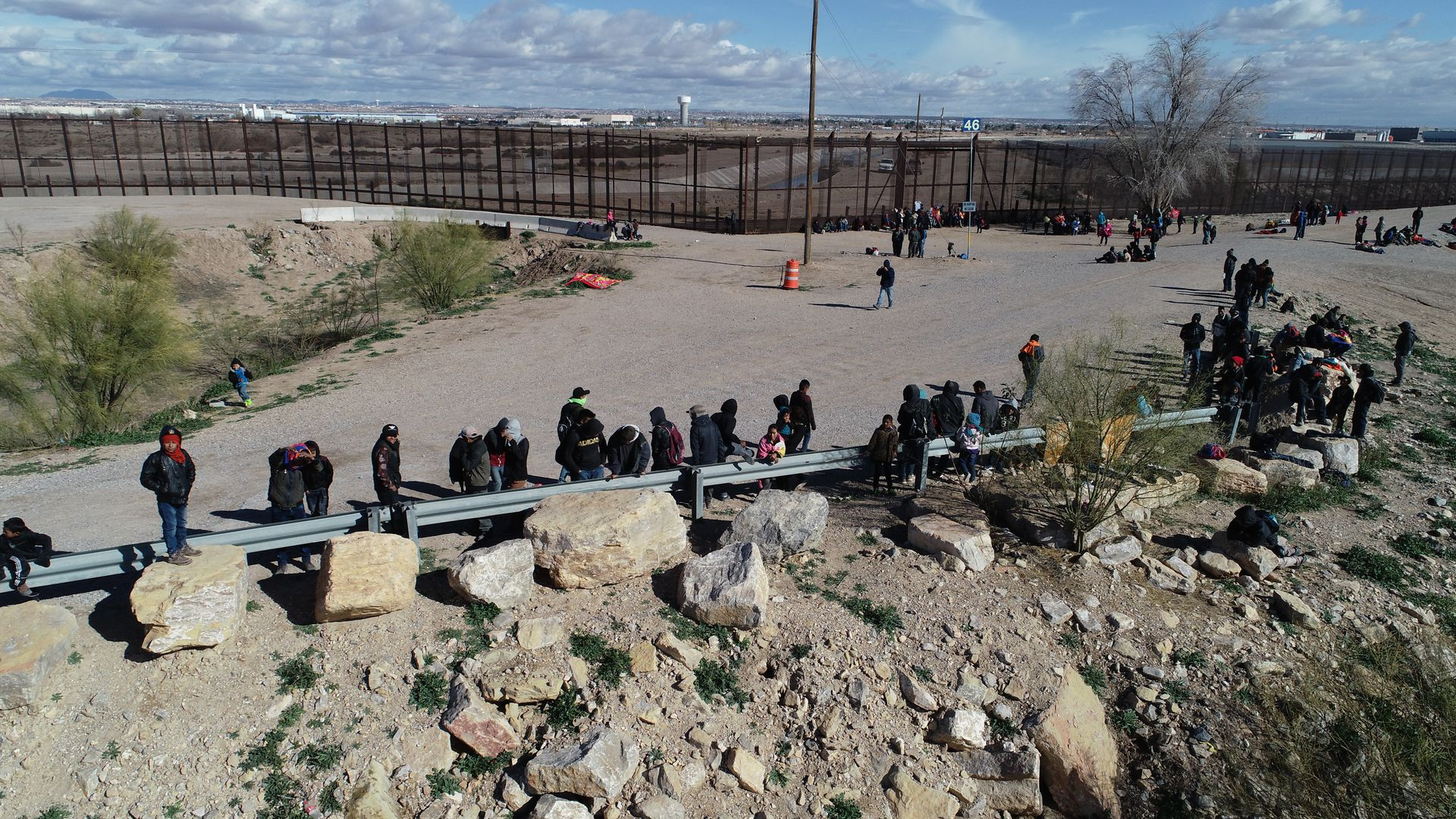 Migrants waiting near the U.S. border
