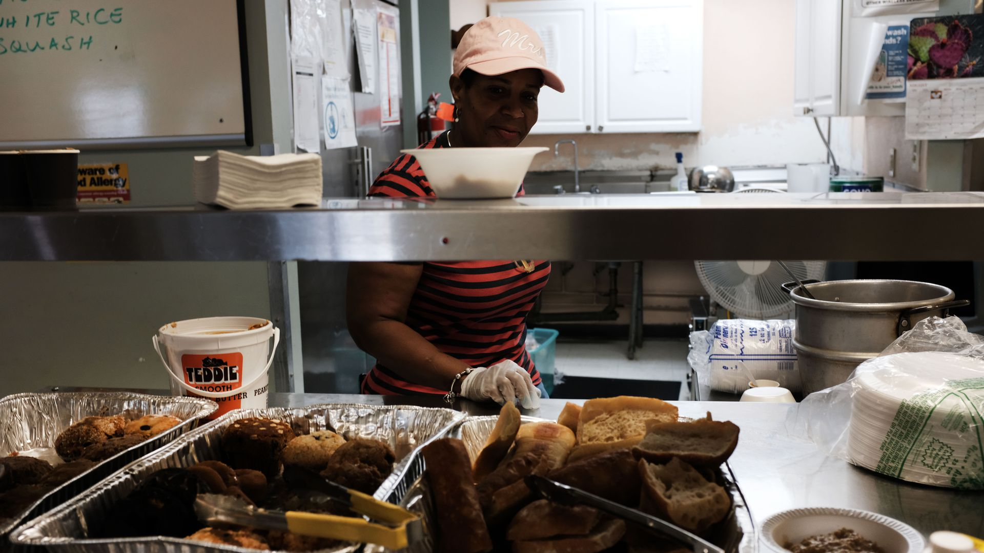 Breakfast is served at the Lazarus House Ministries morning soup kitchen on August 16
