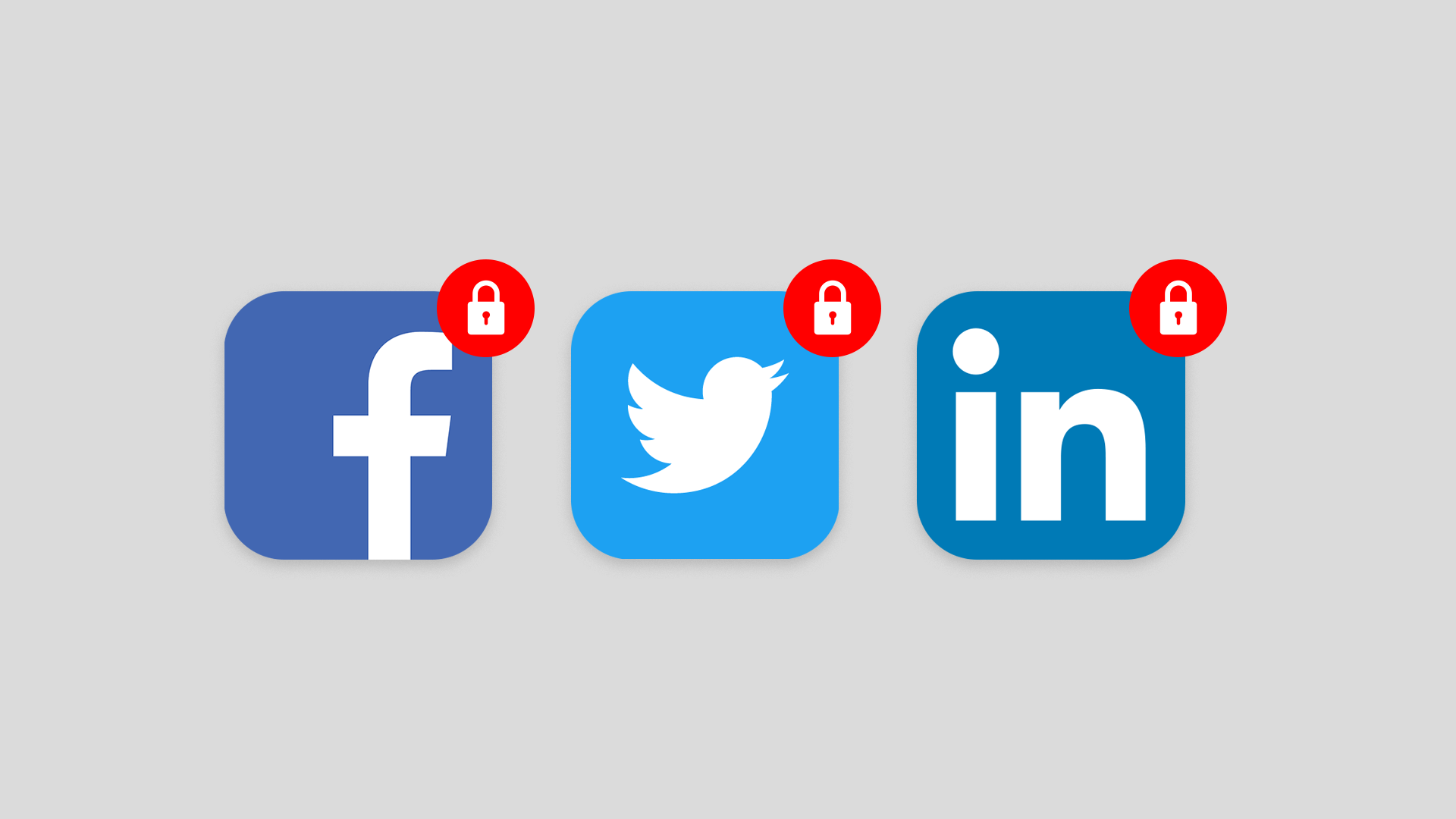 Social media icons with locks