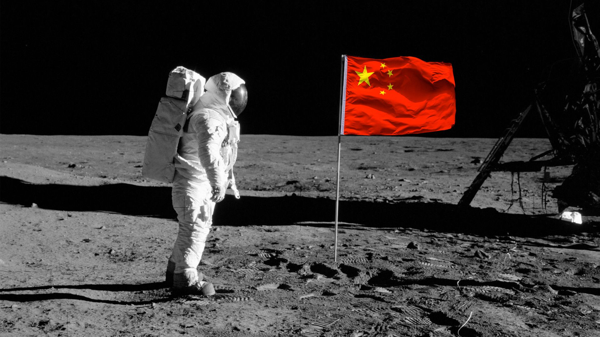 A Chinese astronaut planting a flag on the Moon.