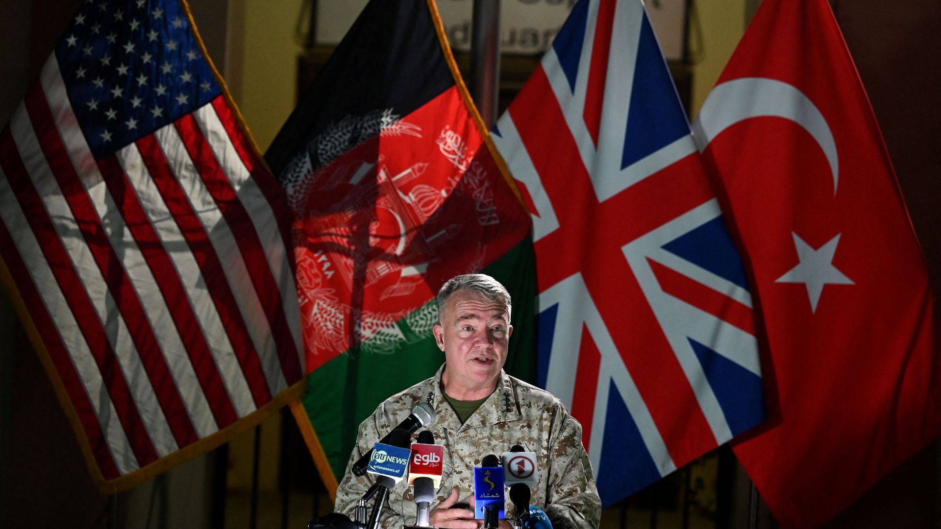 Head of the US Central Command, General Kenneth McKenzie, speaks during a press conference at the former Resolute Support headquarters in the US embassy compound in Kabul on July 25, 2021.