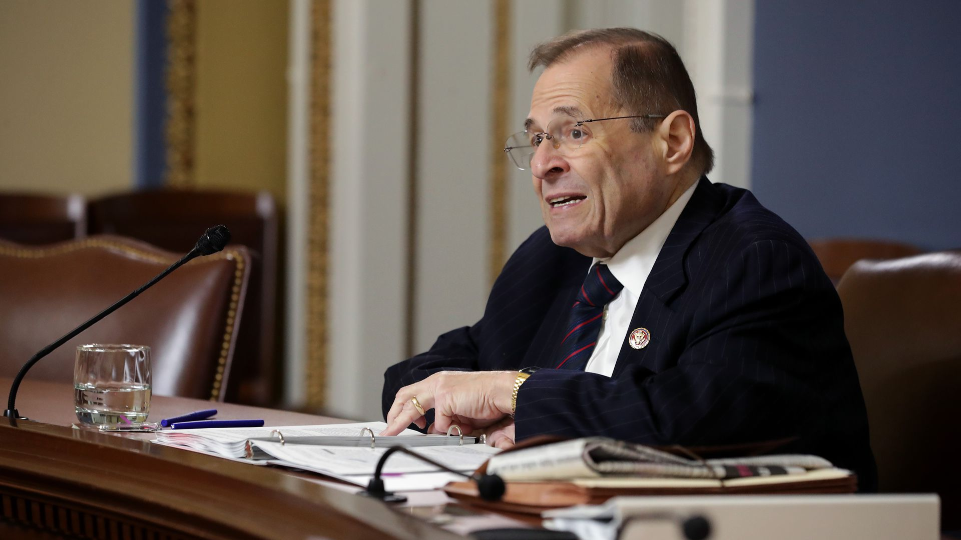 House Judiciary Committee Chairman Jerry Nadler reads the Mueller Report in the Rules Committee hearing room at the U.S. Capitol May 16, 2019 in Washington, DC.