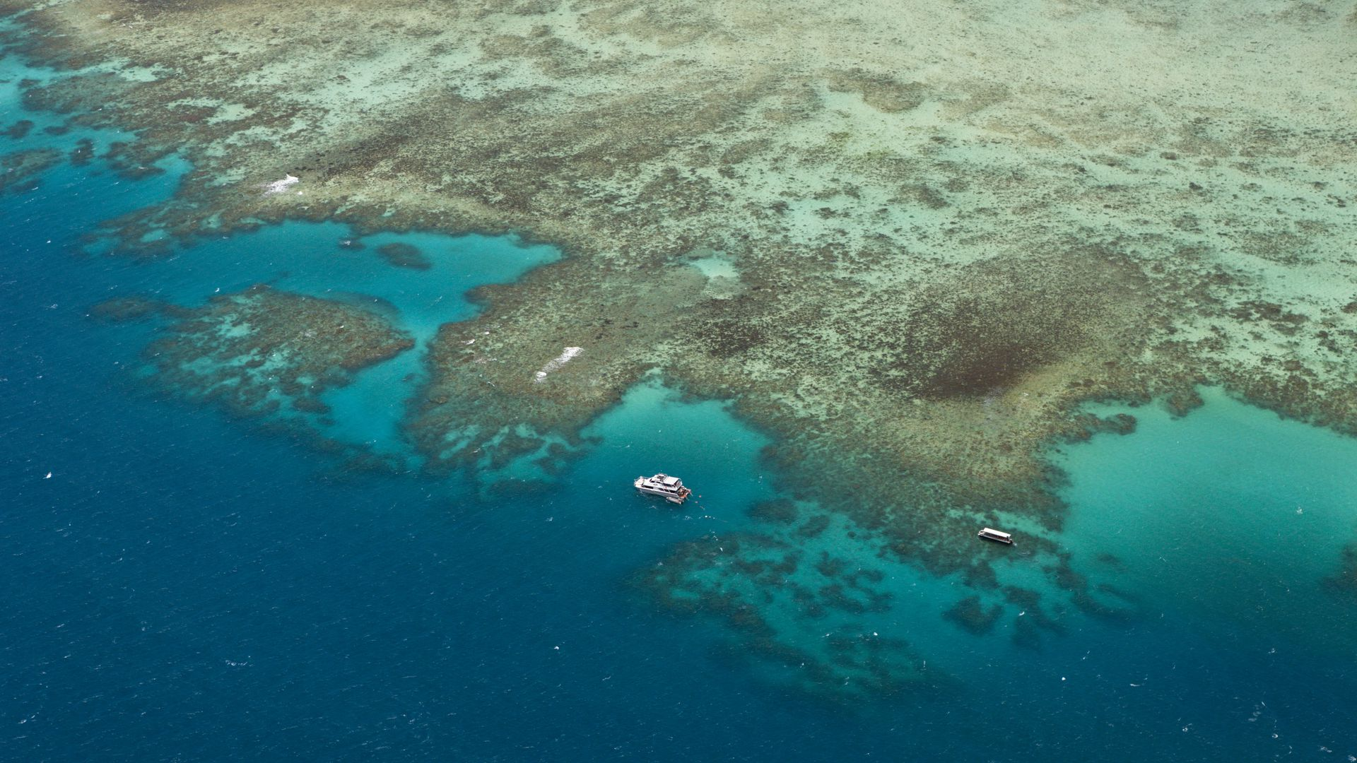 The Great Barrier Reef from an aerial view.