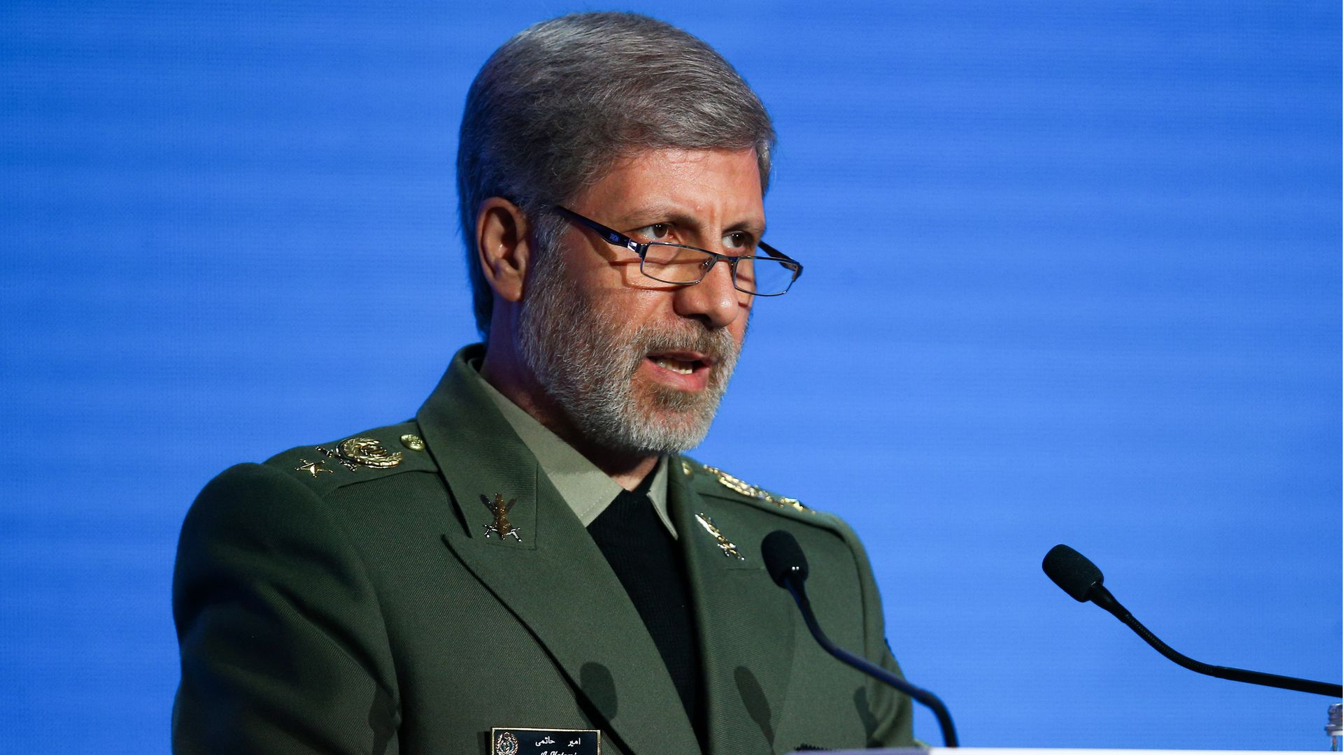 Iran's Defence Minister Brig Gen Amir Hatami addresses the 2018 Moscow Conference on International Security held at Radisson Royal Hotel.