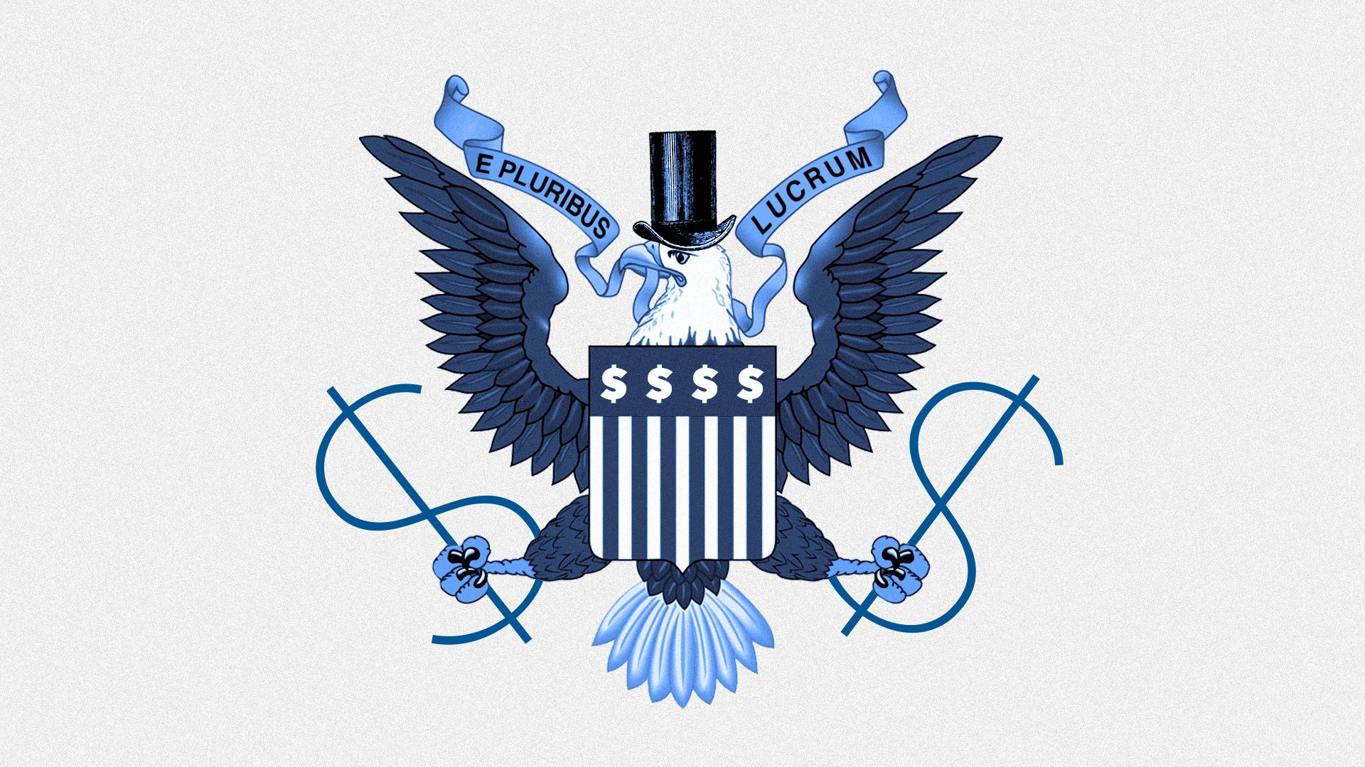 The eagle from the seal of the United States, holding dollar symbols in its claws