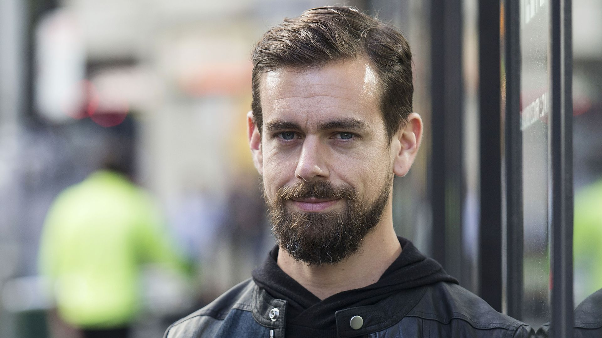 Twitter CEO Jack Dorsey in a black coat