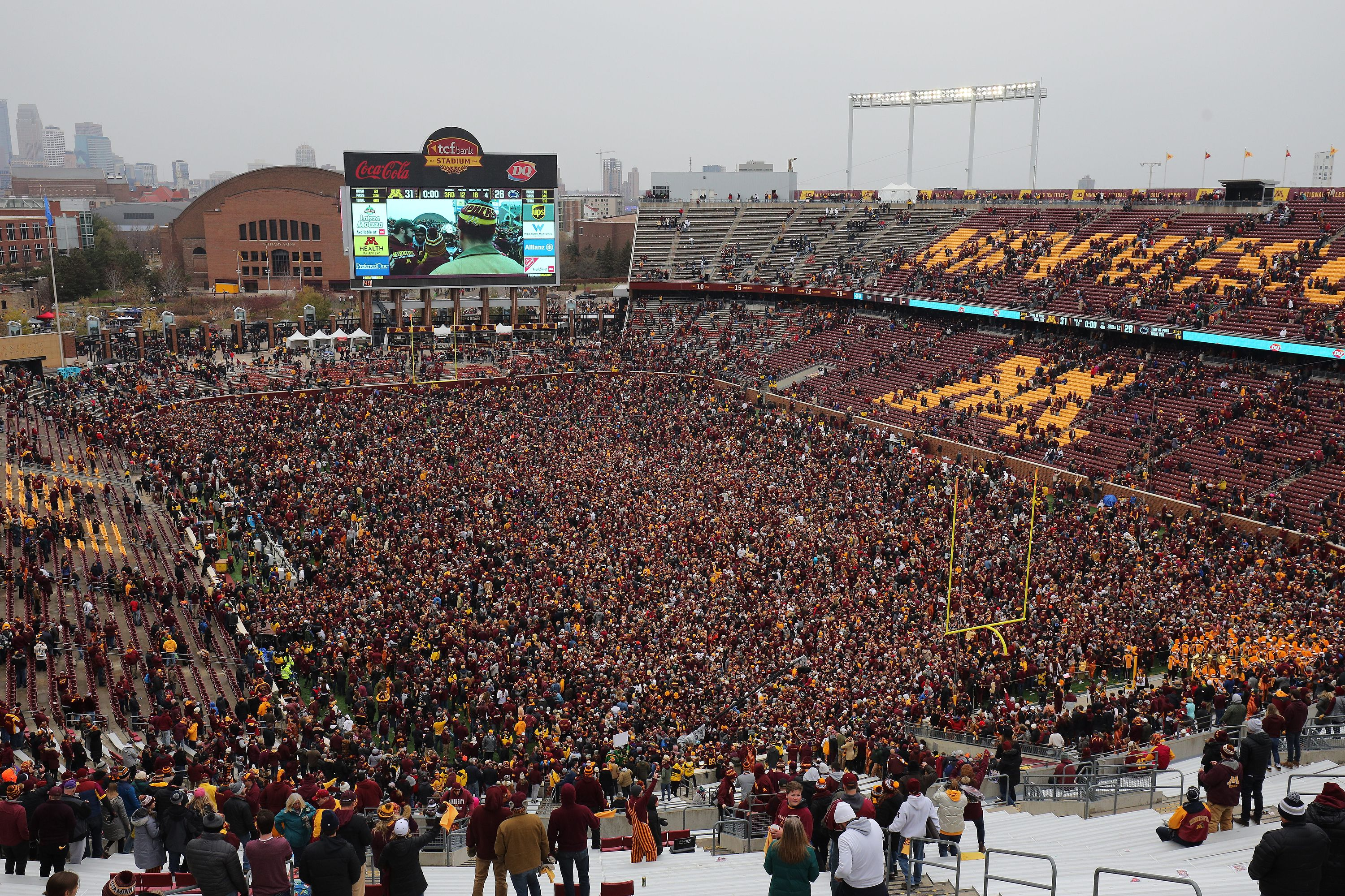 Minnesota fans on the field