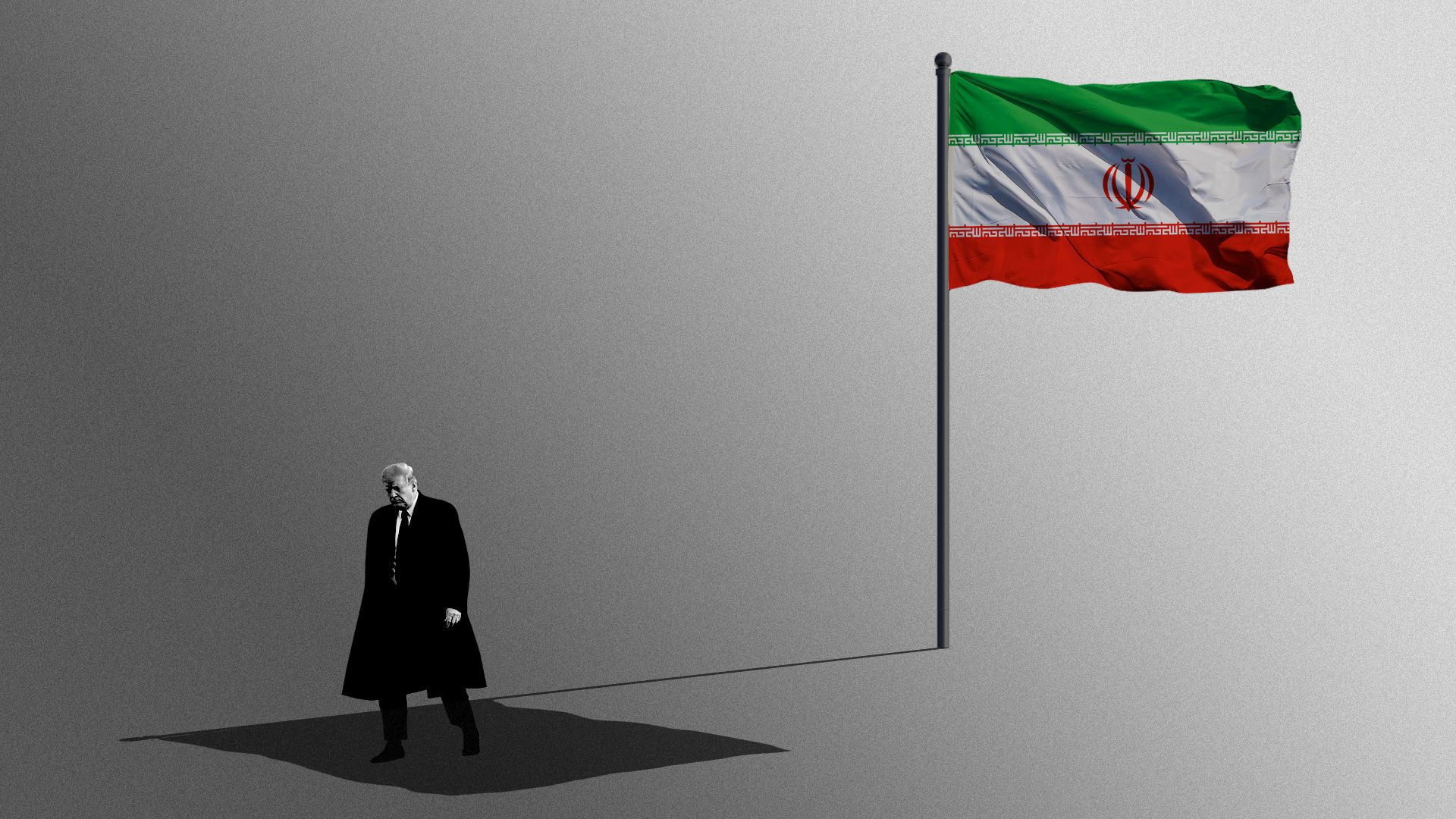 Illustration of President Trump in the shadow of the Iranian flag