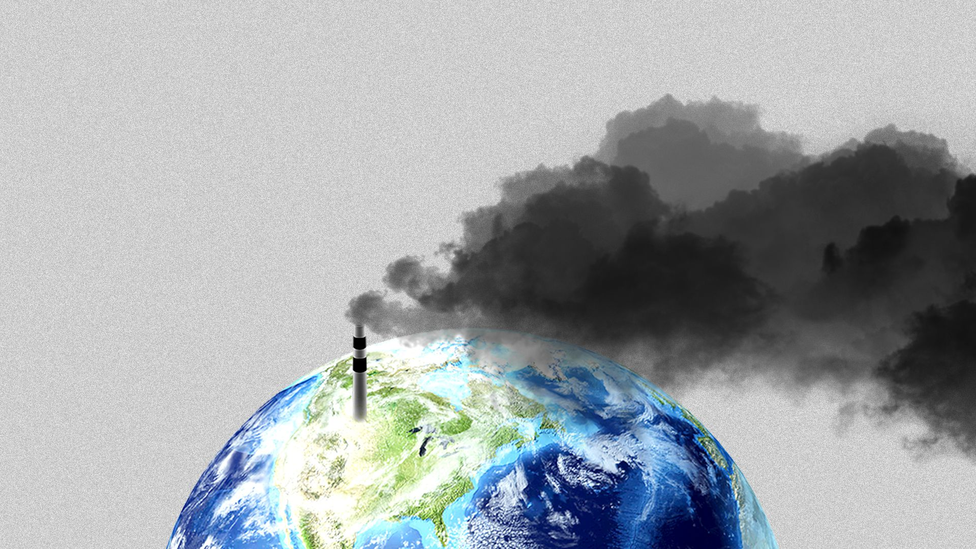Illustration of a small smokestack coming from the United States covering the globe in smoke