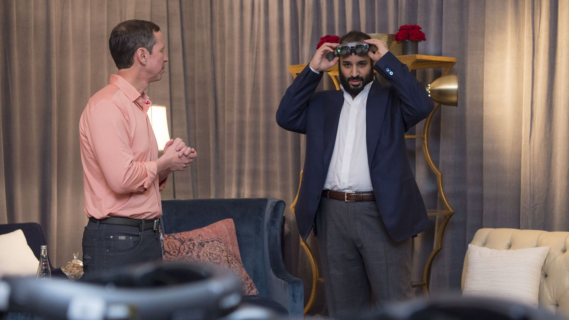 Saudi Arabian Crown Prince Mohammad bin Salman tries out a Magic Leap headset.