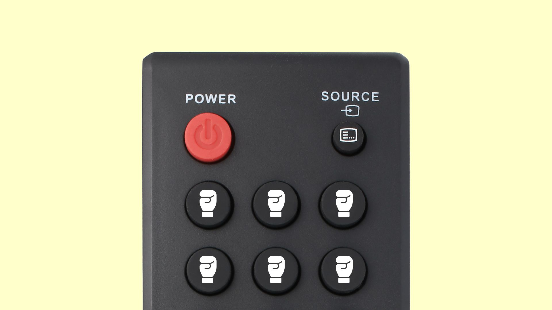 TV remote with buttons replaced by boxing gloves