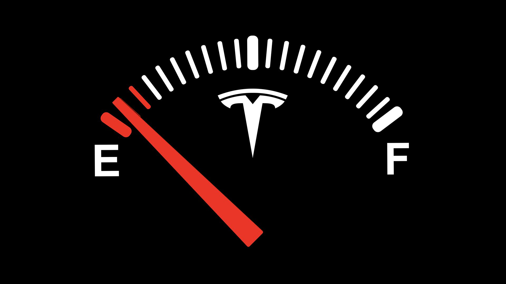 Illustration of Tesla gas tank on empty