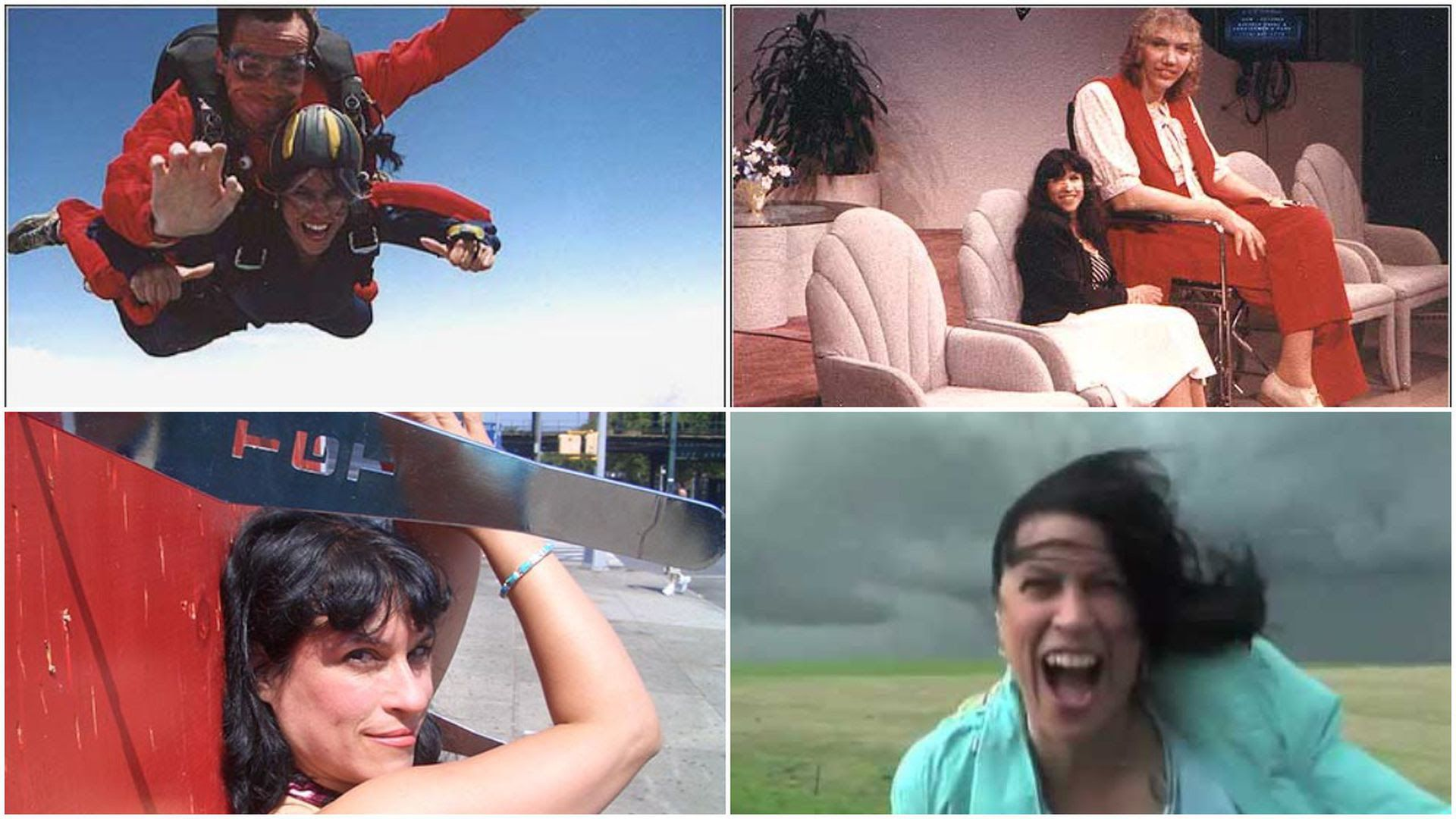 A grid of Fran of photos of Fran Capo skydiving, yelling and posing on television.