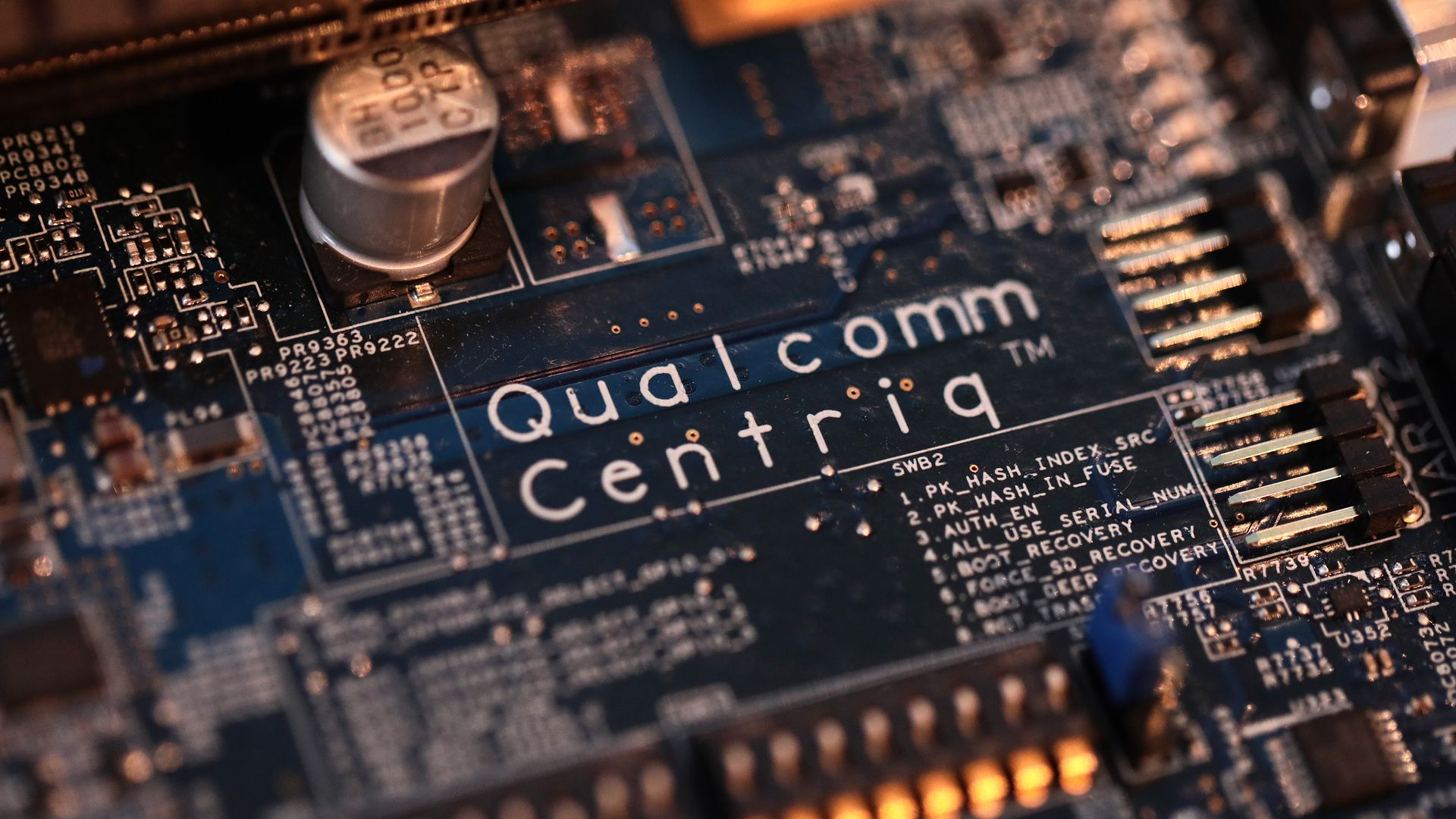 A close-up shot of a Qualcomm chip.