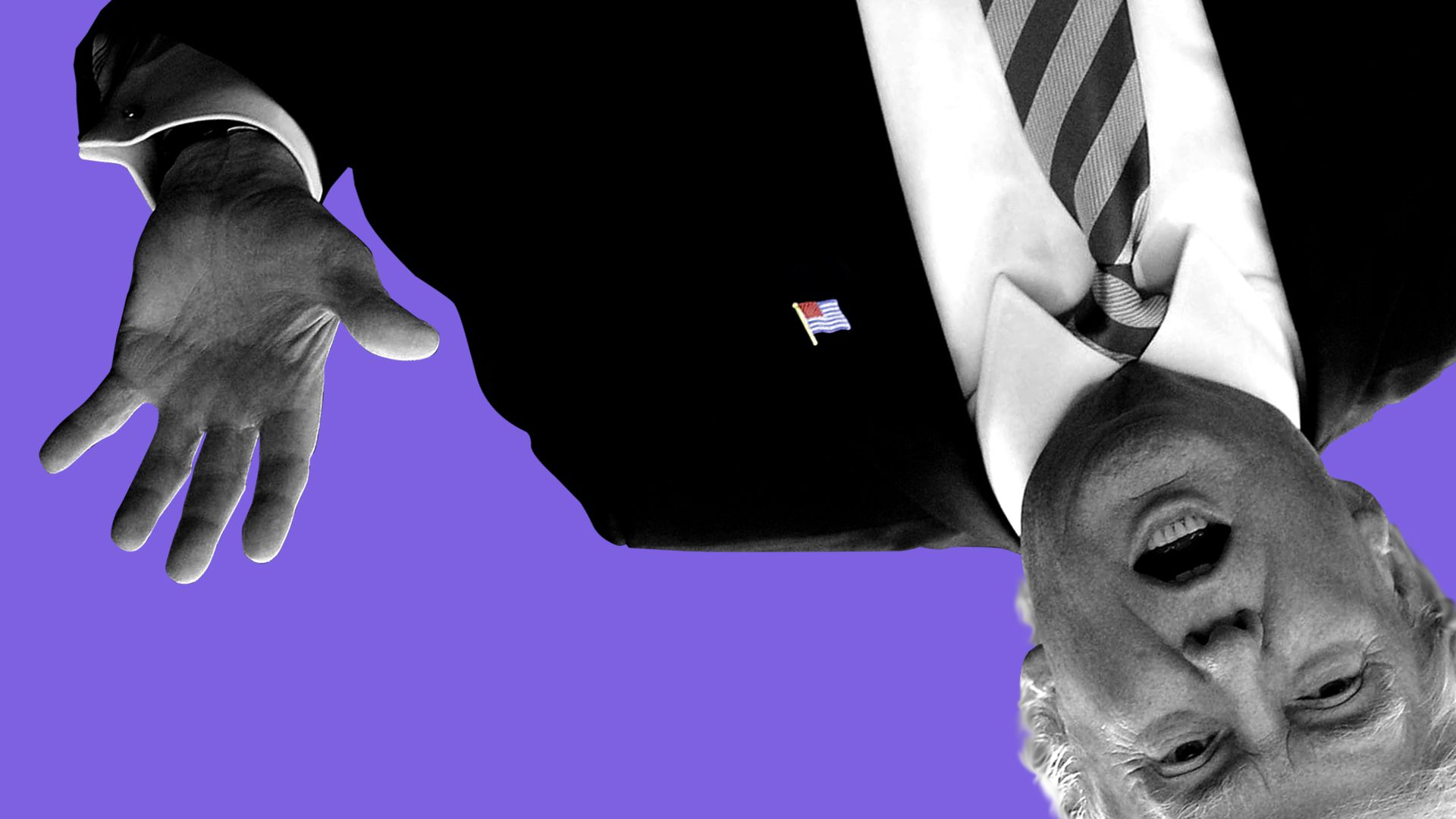 An illustration of President Trump in black and white, upside down on a purple background.
