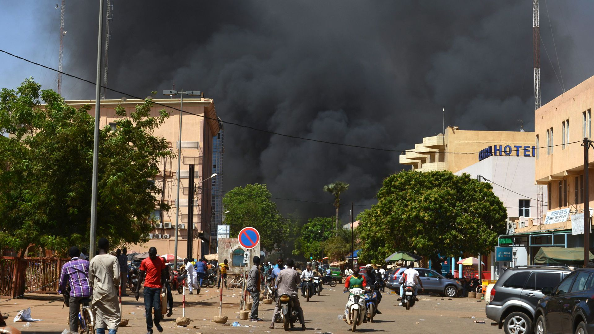 Smoke in Burkina Faso's capital after attacks.