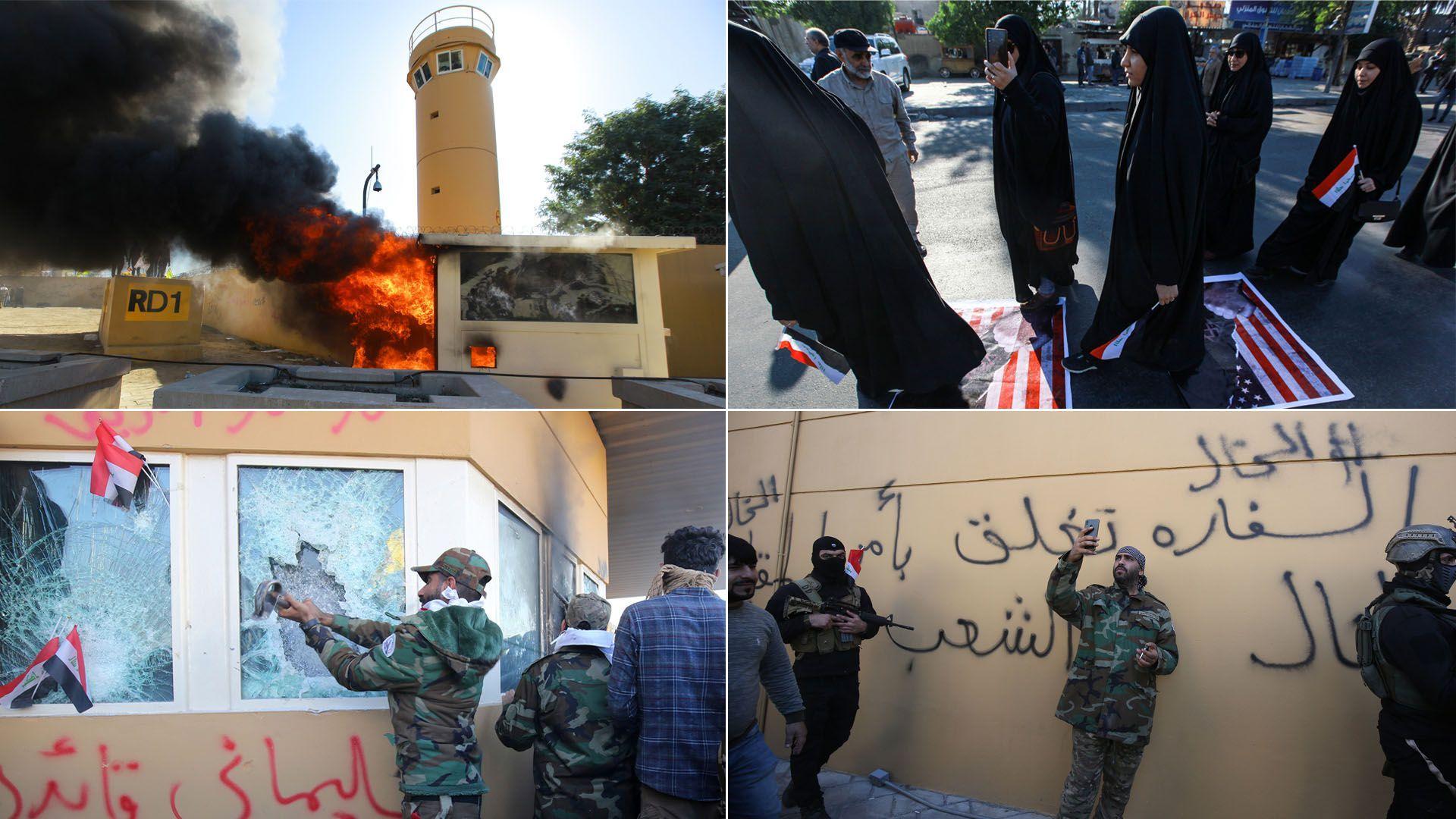 Iraqi protestors outside U.S. embassy