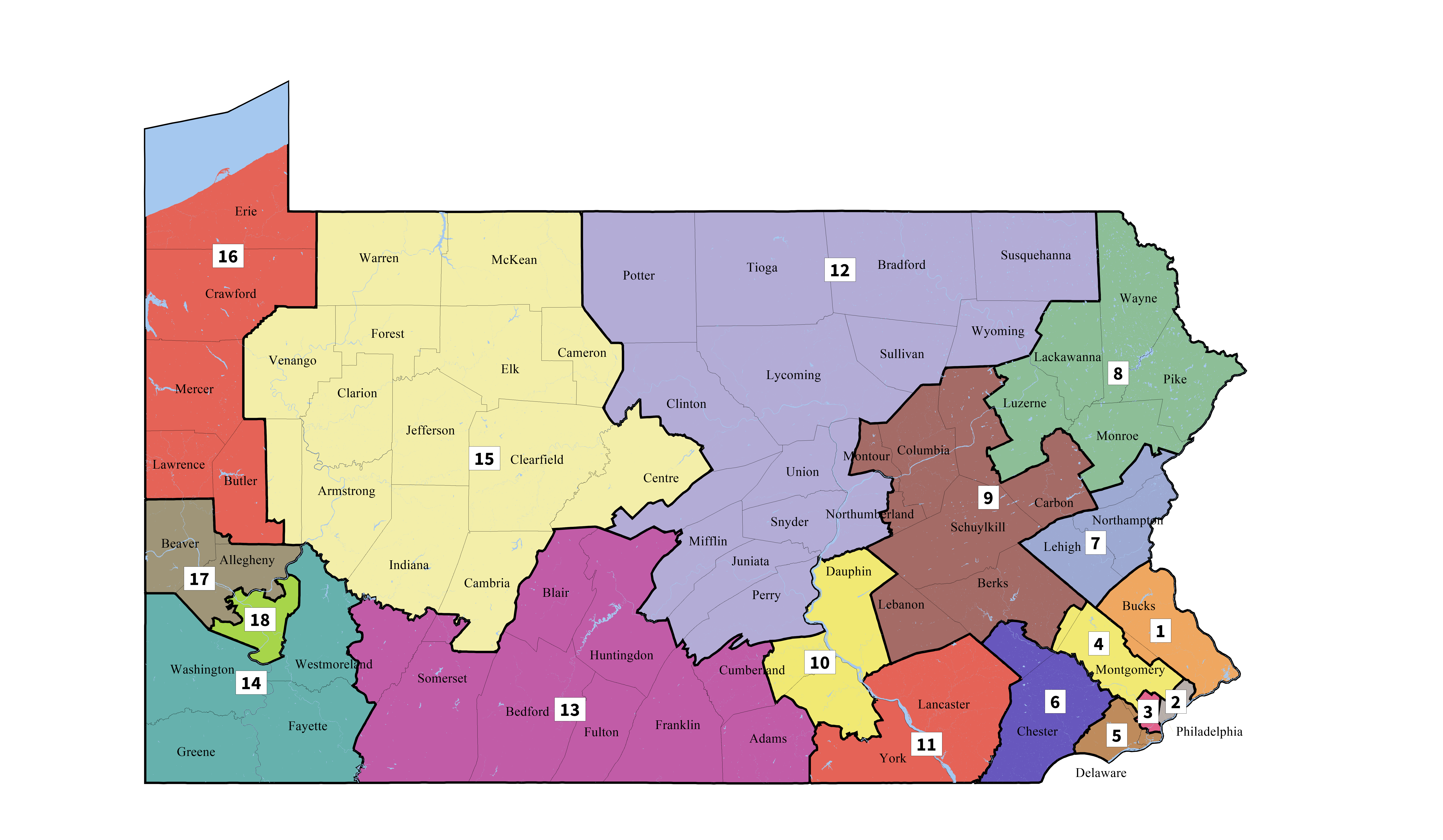 New map of Pennsylvania congressional districts