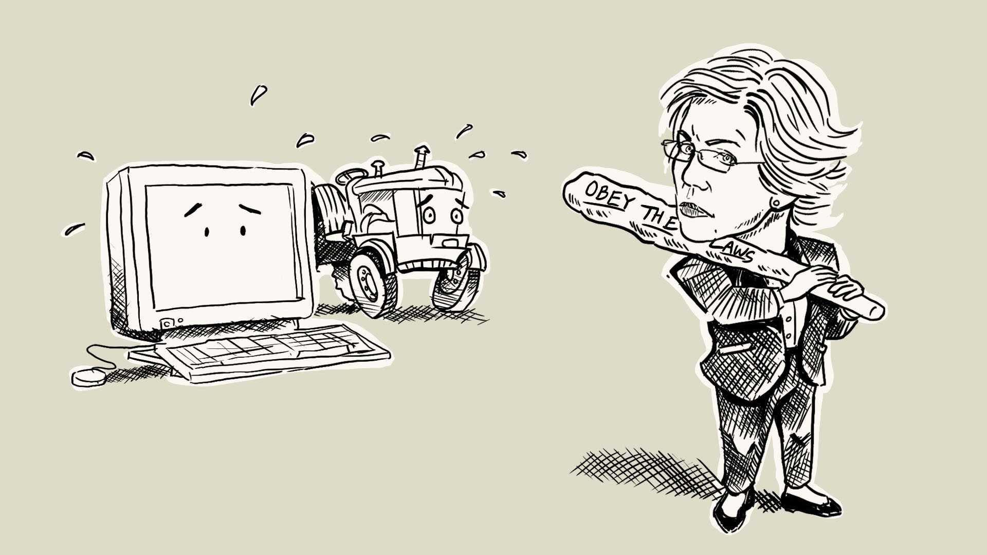 Illustration of  Sen. Elizabeth Warren scaring big tech and big farms