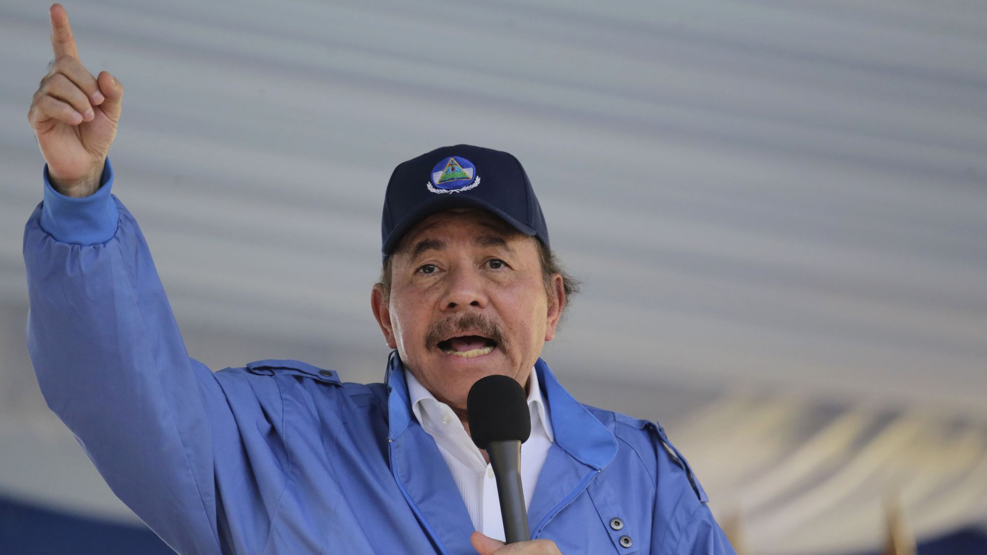 Nicaraguan President Daniel Ortega speaks during a rally, in Managua, on August 22, 2018.