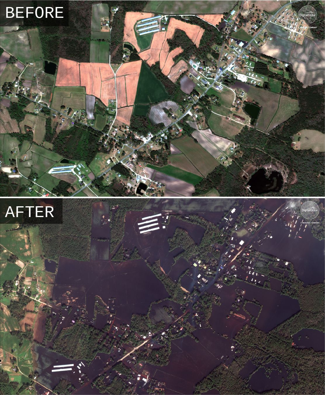 Satellite photo of inundated homes following Hurricane Florence in Wallace, North Carolina.