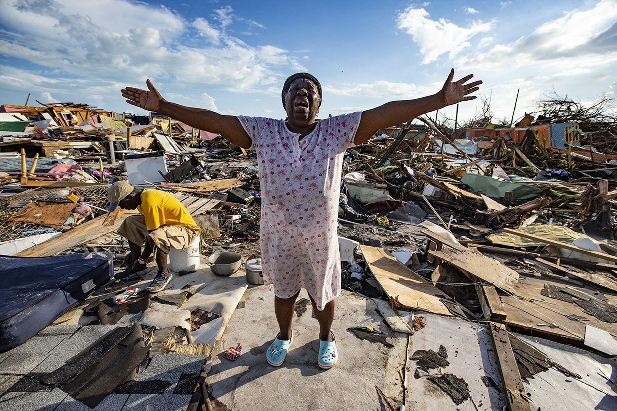 Woman mourns after losing her home in Hurricane Dorian