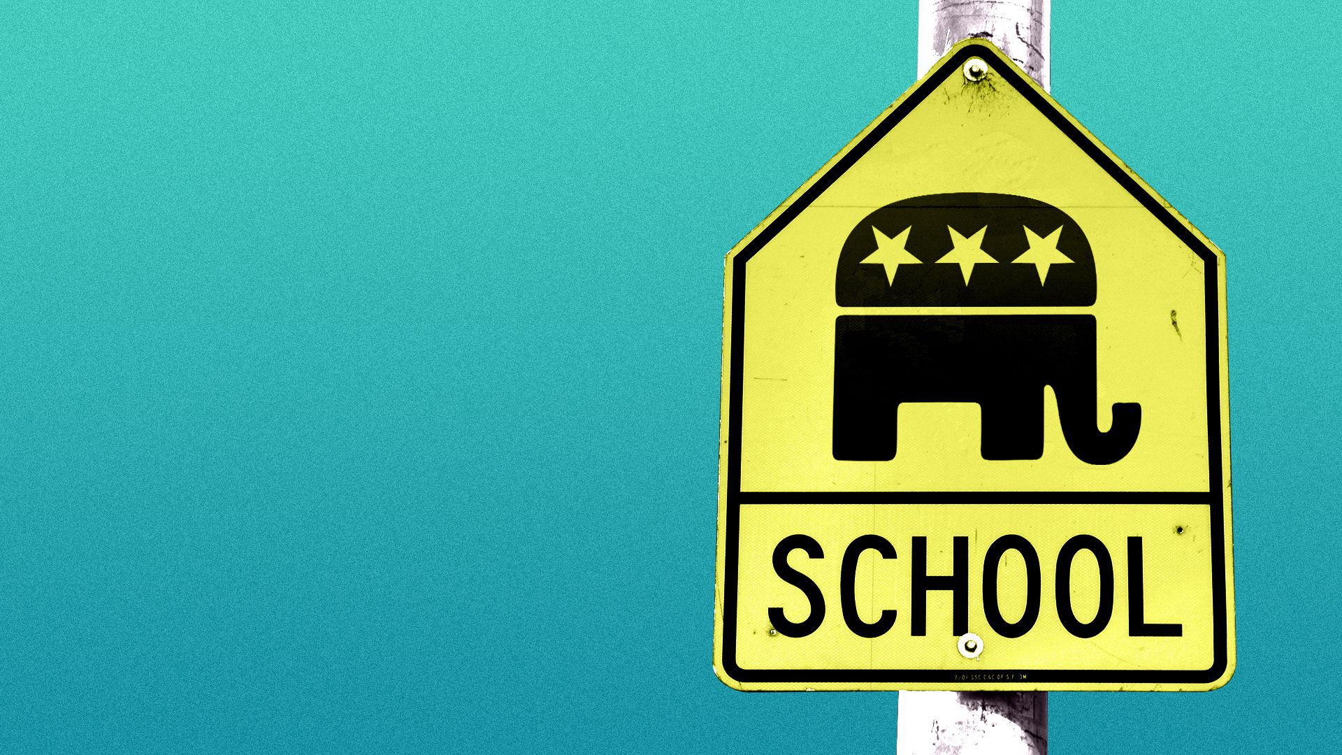Illustration of a school street sign with the Republican Party logo on instead of icons of children.