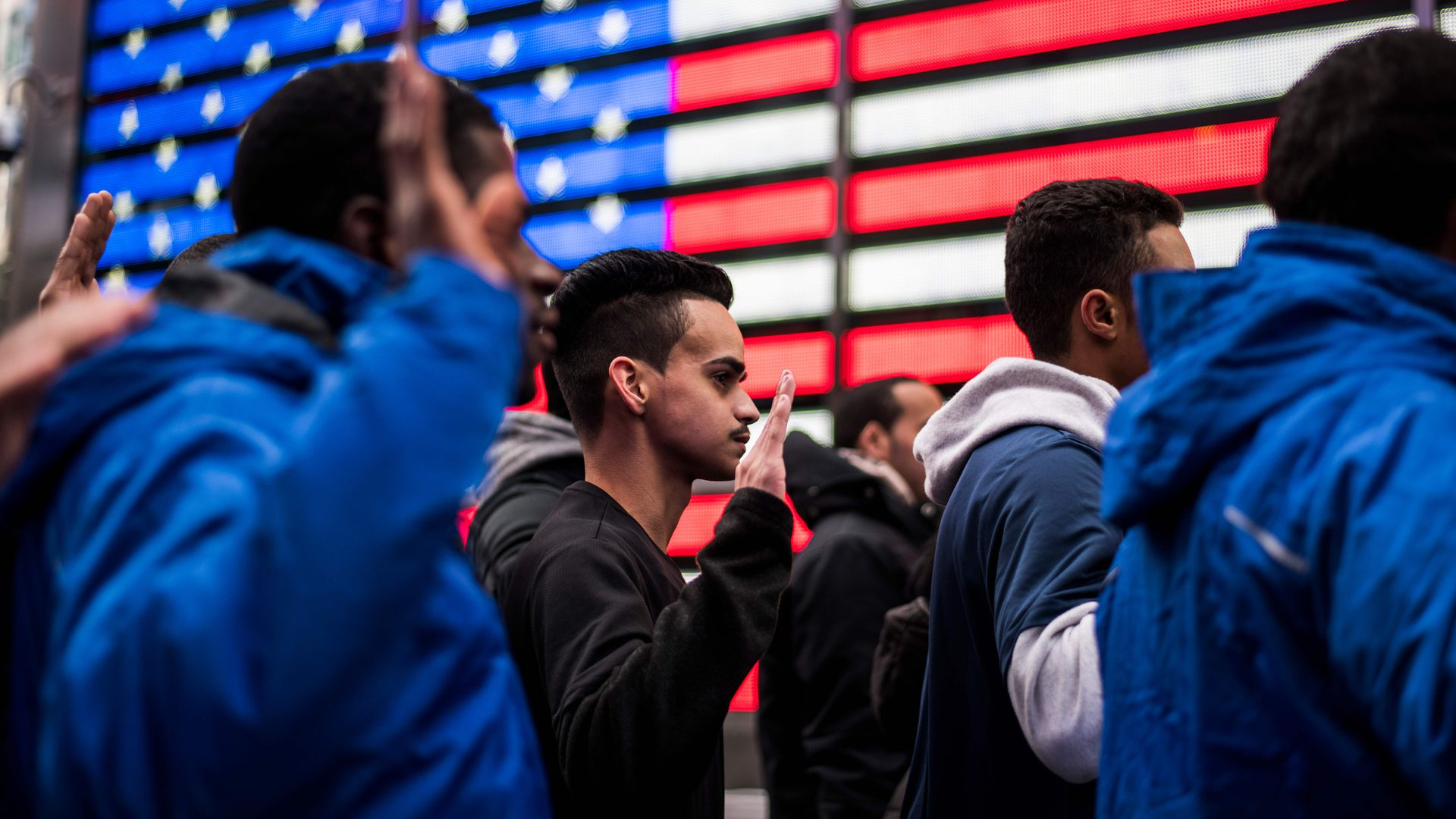 New Army recruits take an oath in Times Square