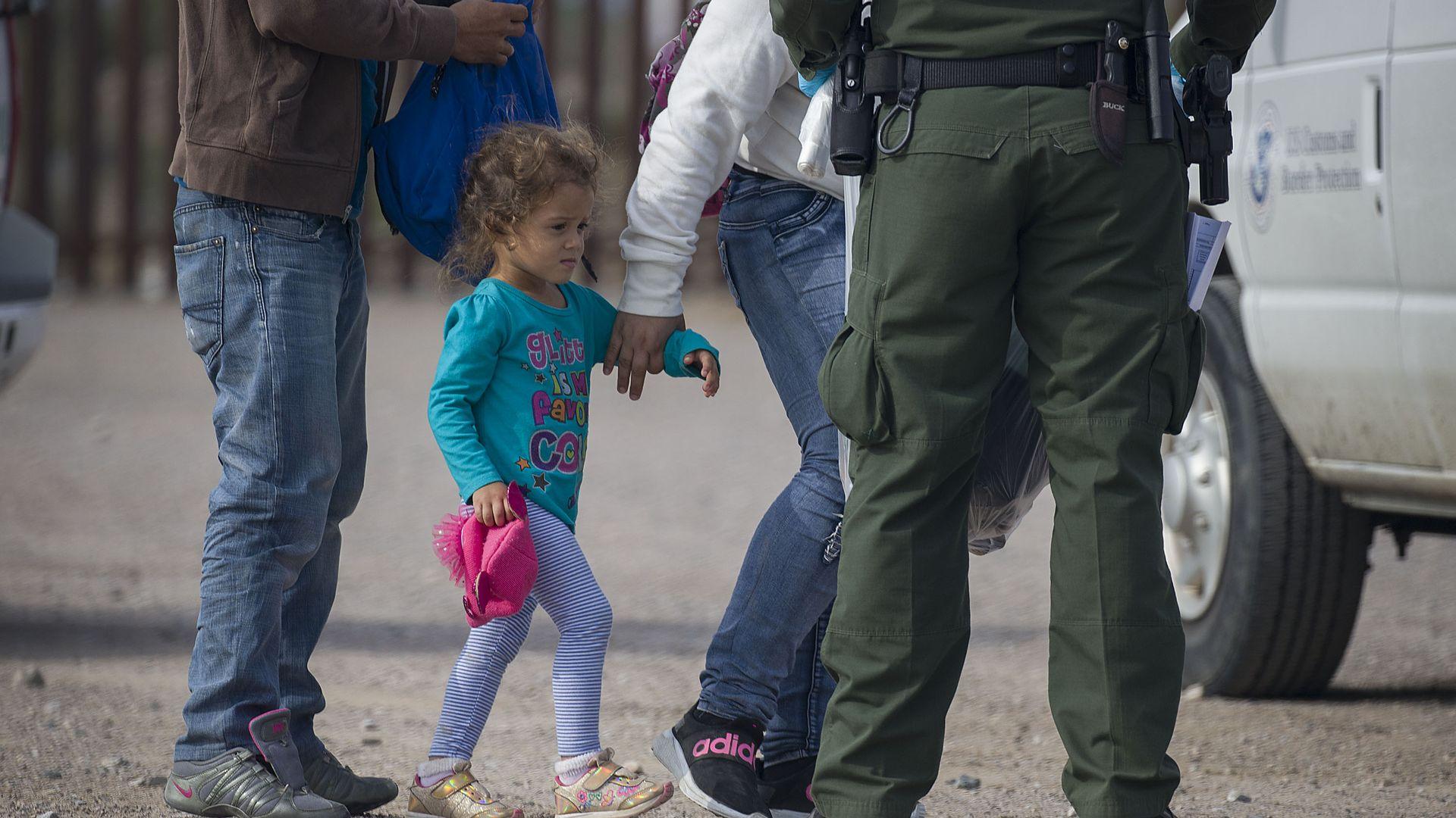 Migrants being processed by Border Patrol