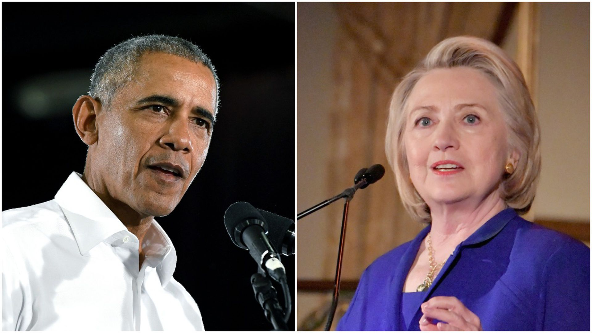 Side by side photos of Barack Obama and Hillary Clinton