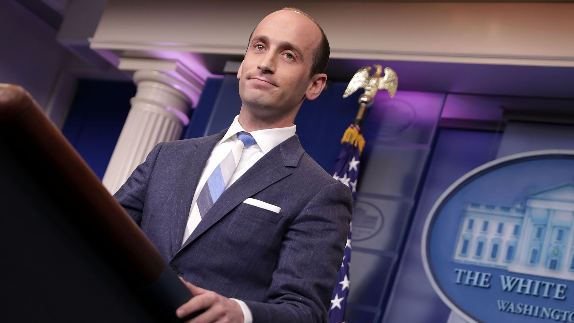 Stephen Miller at the White House podium