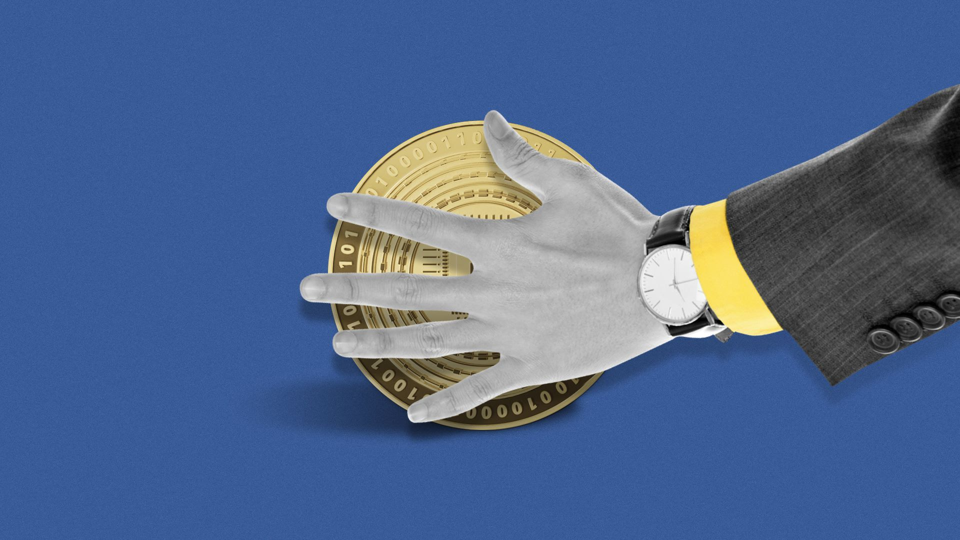 Illustration of a hand covering cryptocurrency