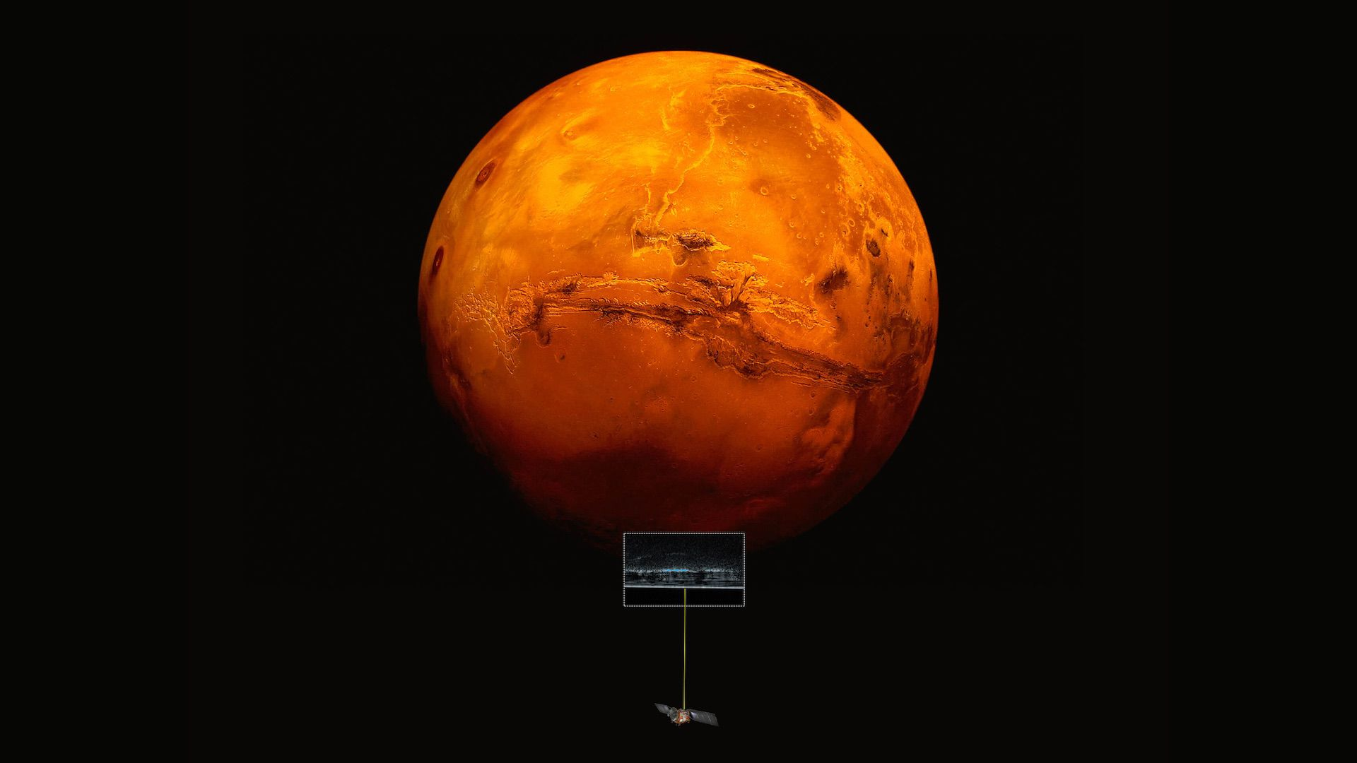 Artistic impression of the Mars Express spacecraft probing the southern hemisphere of Mars, along with the radar cross section of the deposits in that region.