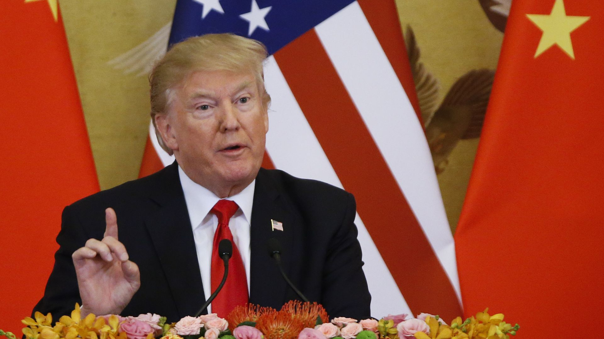 President Donald Trump and China's President Xi Jinping (not shown) make a joint statement at the Great Hall of the People on November 9, 2017 in Beijing, China.